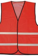 Goedkope Veiligheidshesjes in de kleur rood voorzien van reflecterende strepen (uni volwassen maat)