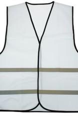 Goedkope Veiligheidshesjes in de kleur wit voorzien van reflecterende strepen (uni volwassen maat)