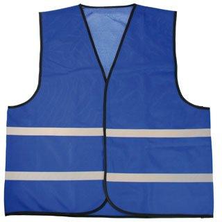 Goedkope Veiligheidshesjes in de kleur blauw voorzien van reflecterende strepen (uni volwassen maat)