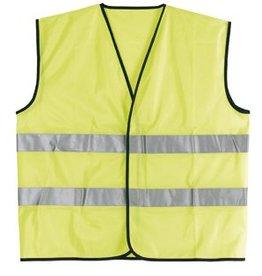 Goedkope Veiligheidshesjes in de kleur fluor geel voorzien van reflecterende strepen (uni volwassen maat)