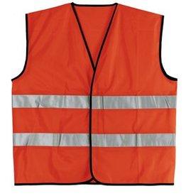 Goedkope Veiligheidshesjes in de kleur fluor oranje voorzien van reflecterende strepen (uni volwassen maat)