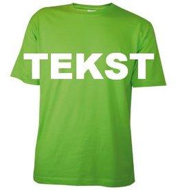 Katoenen lichtgroene T-shirts met bedrukking van een tekst
