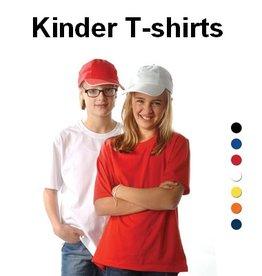 100% katoenen kinder T-shirts met ronde hals en korte mouw (leverbaar in de maten 128, 140, 152 en 164)