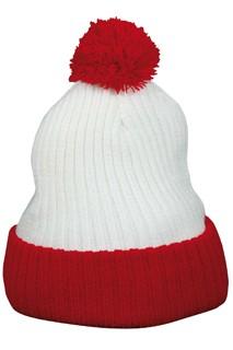 Echte POM POM mutsen voor volwassenen (kleur rood met wit) kopen?