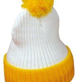 Echte POM POM mutsen voor volwassenen (kleur geel met wit)