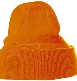 Warme gebreide oranje winter mutsen (1 universele volwassen maat)