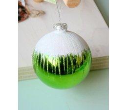 Grote groene hoogglans kerstbal sneeuw - Joyzone -
