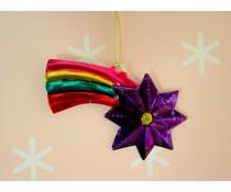 Vallende Ster, vrolijk gekleurde blikken kersthanger