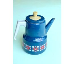 * SOLD * Vintage koffiepot blauw emaille