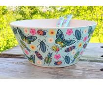 Mooie grote saladeschaal 'Butterflies & Beetles'