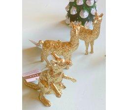 "Goudkleurige kersthangers ""Lama's enzo"""