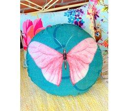 Imbarro Prachtig rond vlinderkussen