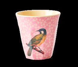 Rice! Melamine beker vintage birds pink/yellow | Medium