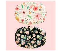 Rice! Melamine plate - Dark rose | Rectangular