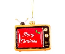 "* SOLD * Kerstbal ""Retro TV "" Merry Christmas"