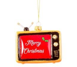 "* SOLD * Kerstbal ""Retro TV "" Merry Christmas"
