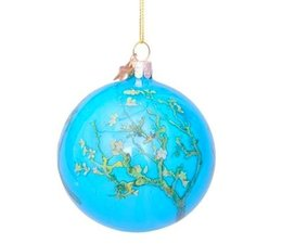 Vondels Amsterdam Kerstbal van Gogh's Amandelbloesem | Blauw