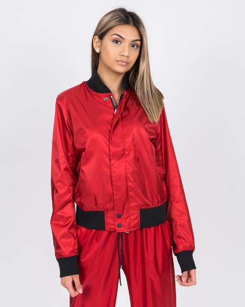 Nike NikeLab Satin Bomber Jacket Gym Red/Black