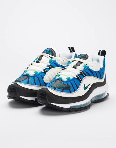 Nike women's air max 98 sail/radiant emerald-blue nebula