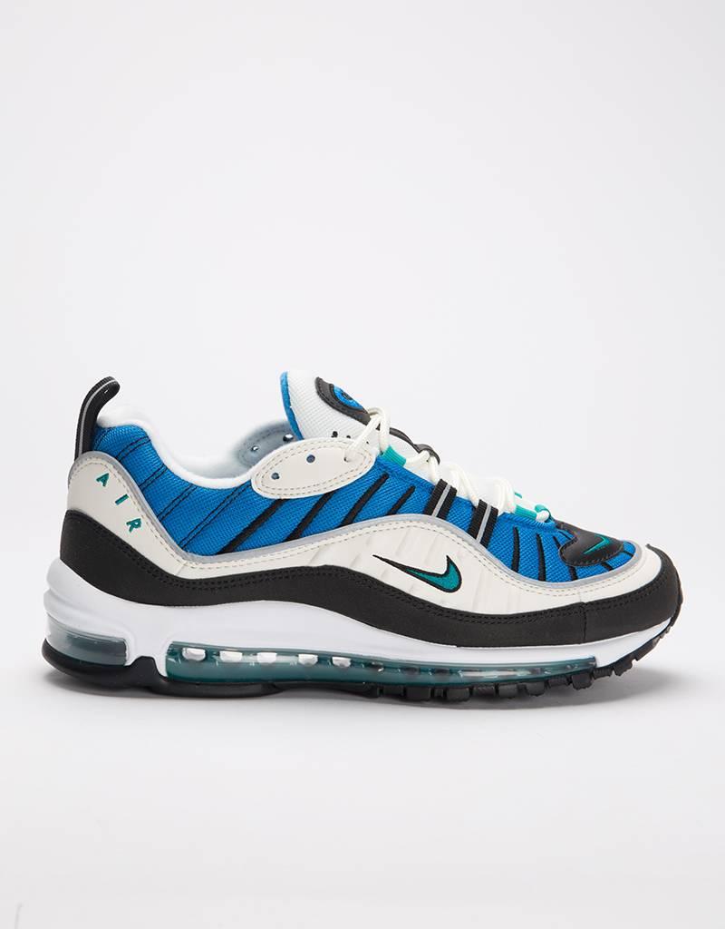 Nike women's air max 98 sail/radiant emerald-blue nebula