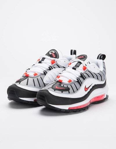 Nike women's air max 98 white/solar red-dust-reflect silver