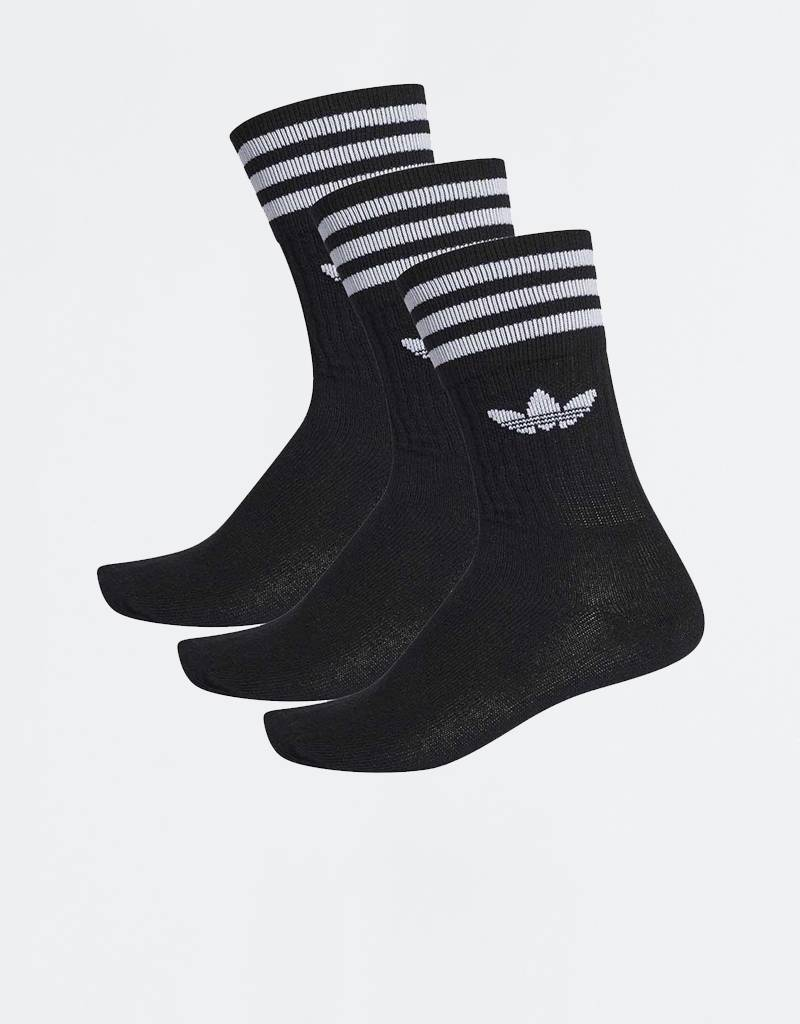 Adidas Solid Crew Socks Black/White