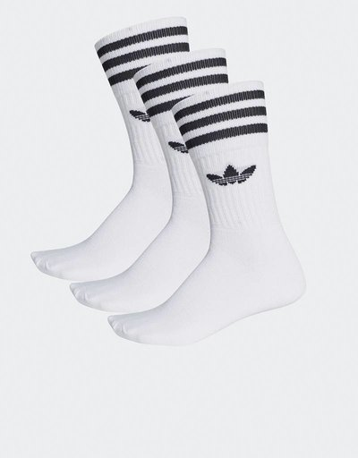 adidas 3-Pack Solid Crew Socks White/Black