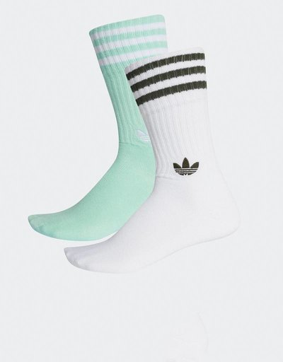 Adidas 2-pack Solid Crew Socks Clear Mint/White