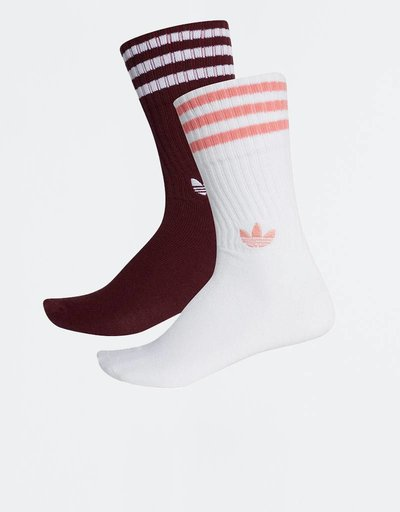 Adidas Solid Crew 2PP Maroon/White