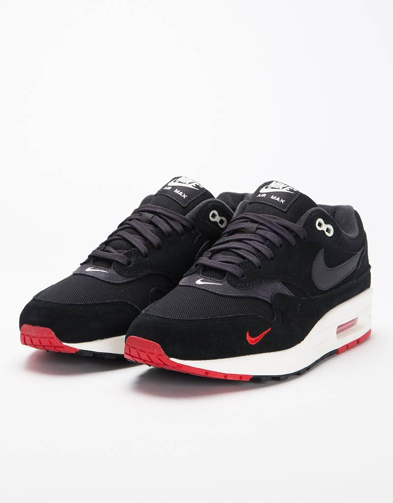 Nike Air max 1 Premium Black/oil grey-university red-sail