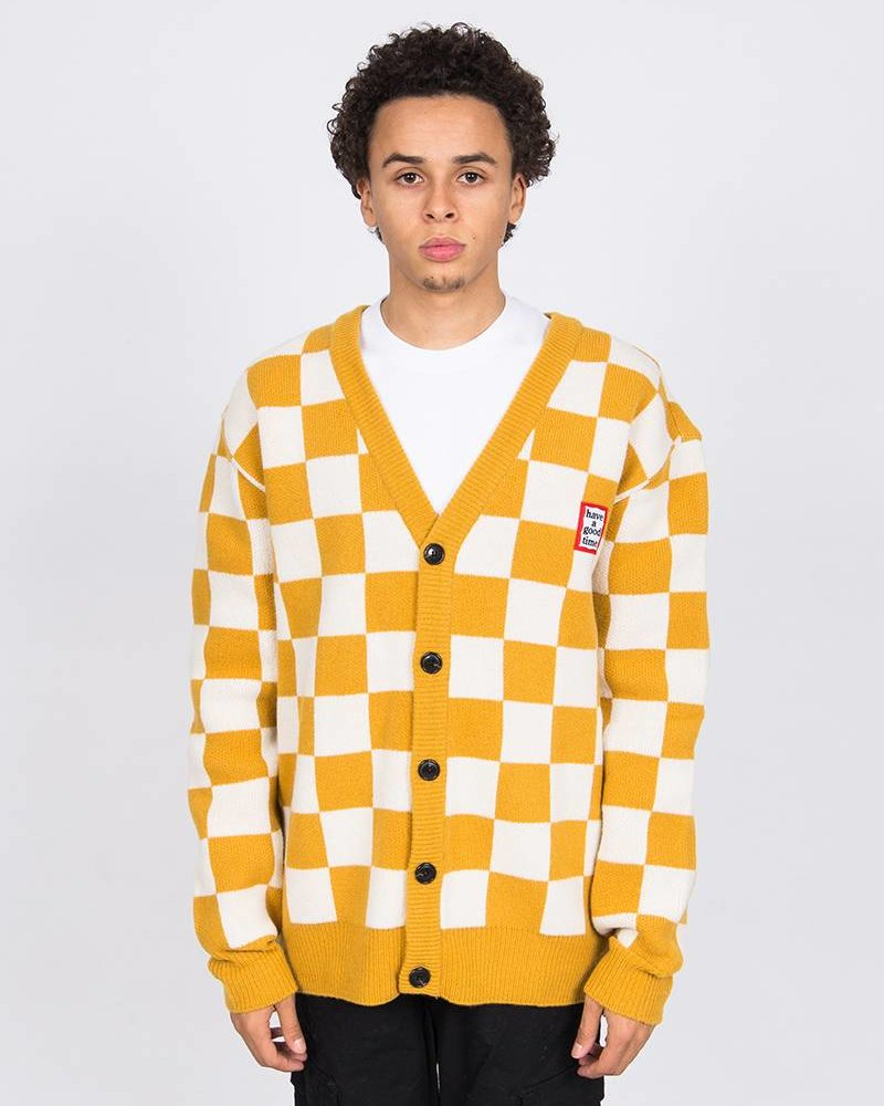 HAVE A GOOD TIME Have A Good Time Checkerboard Cardigan Yellow White