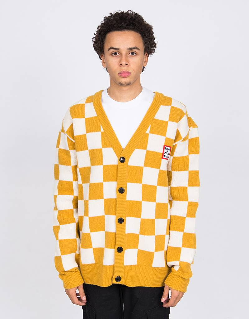 Have A Good Time Checkerboard Cardigan Yellow White
