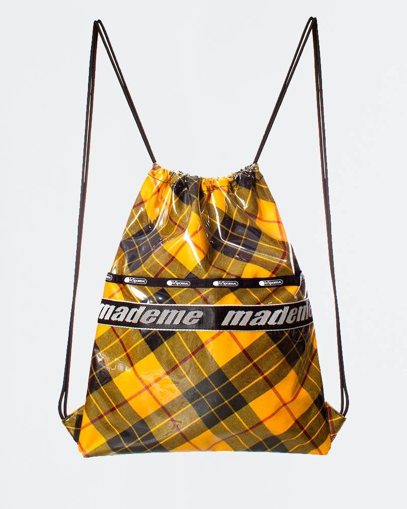 Made Me MadeMe x Lesportsac Drawstring Back Pack Yellow Plaid