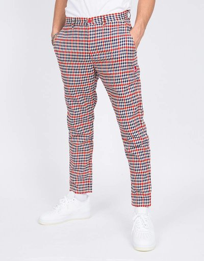 The New Originals Latte Harris Trousers Red/Creme