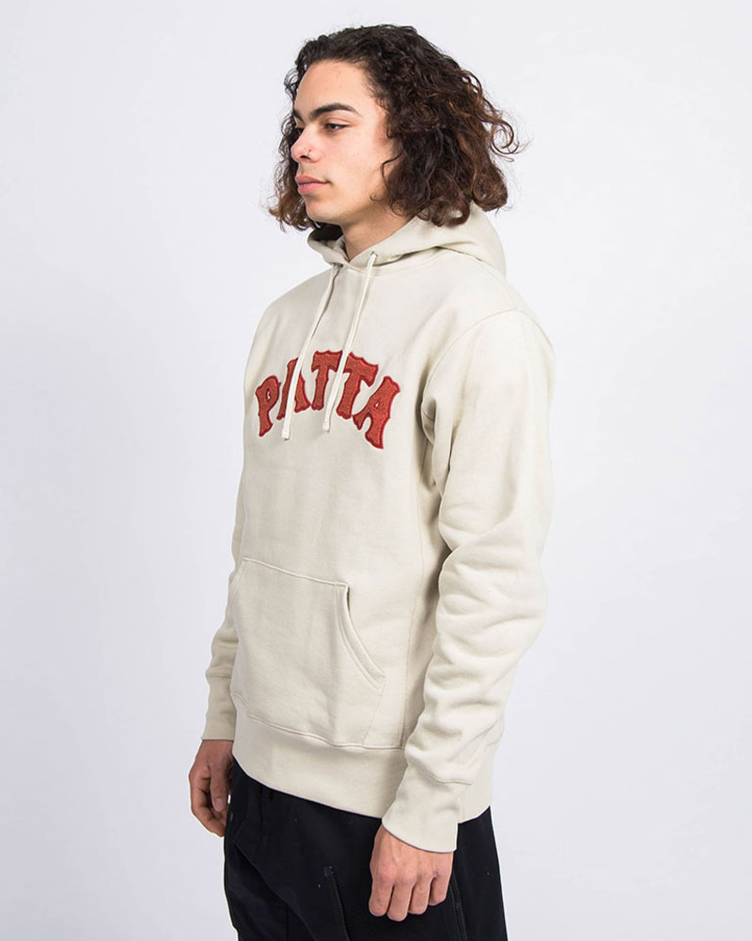 Patta Biker Logo Hooded Sweater Pelican