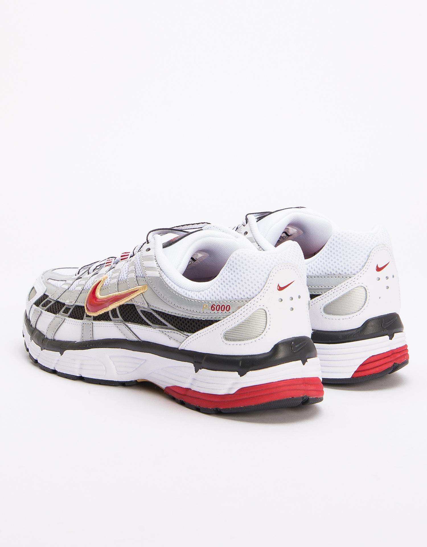 Nike P-6000 White/Varsity Red-Mtlc Platinum