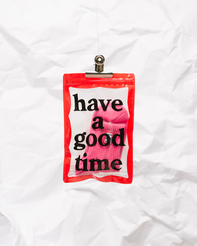 Have A Good Time Frame Socks Pink