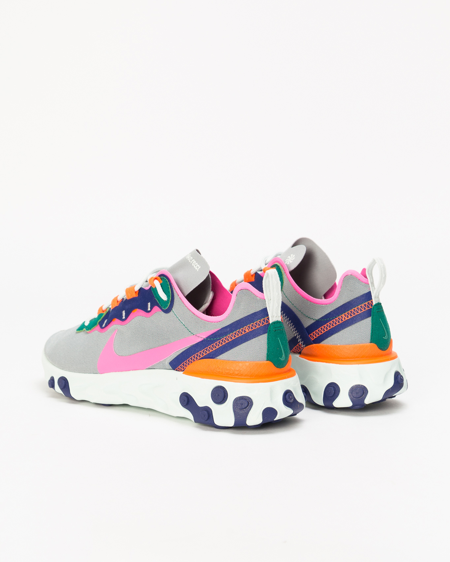 size 40 7d660 537ca ... Nike React Element 55 Wolf Grey Laser Fuchsia-Hyper Crimson