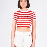 adidas x Fiorucci Stripe Crop T-Shirt Off-White/Red