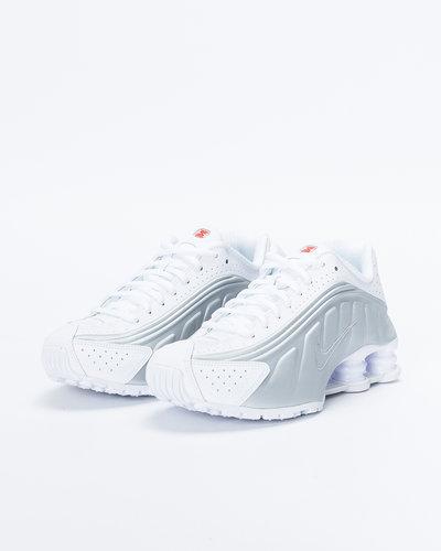 Nike Shox R4 White/White-Metallic Silver-Max Orange