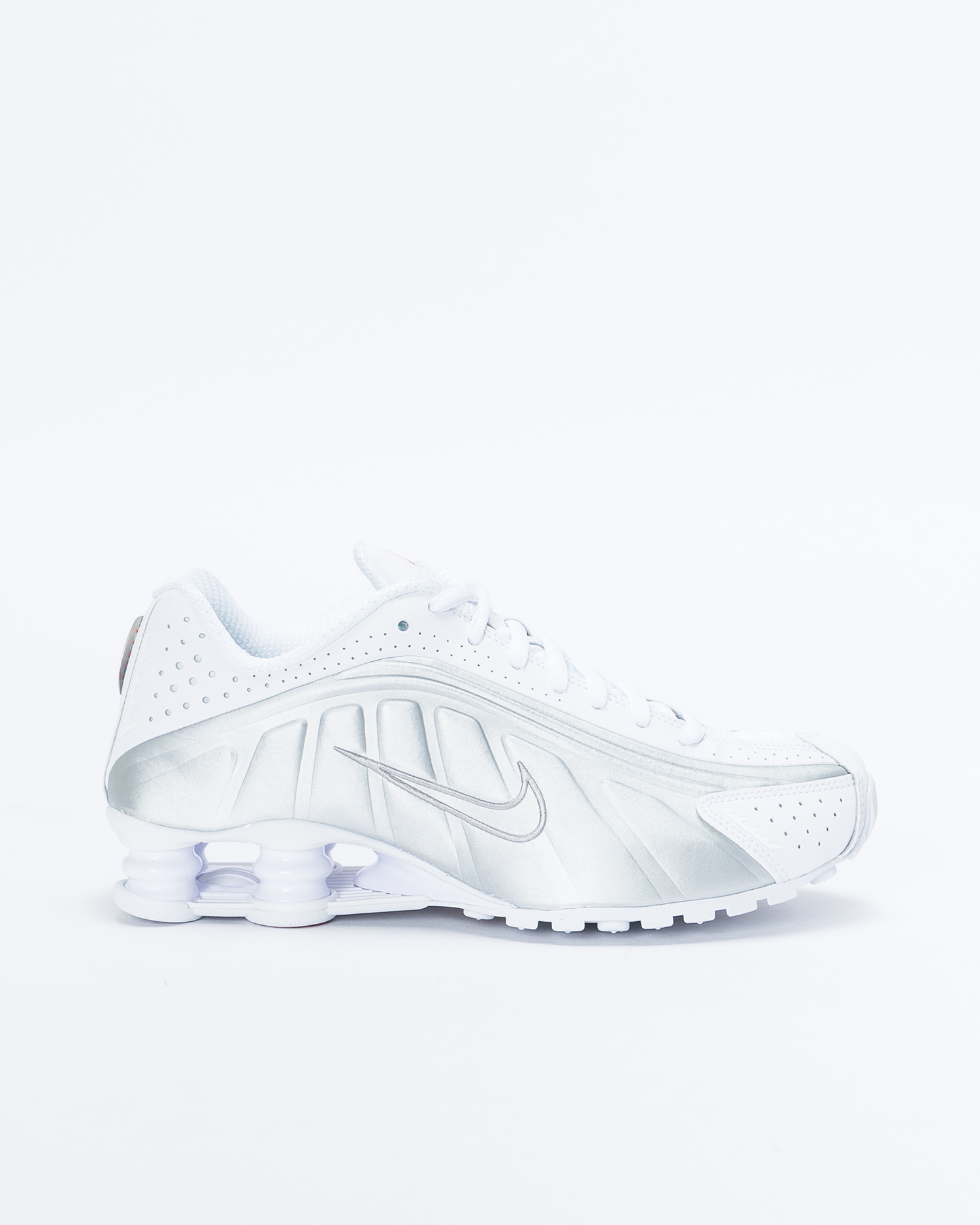 great deals 2017 nice shoes factory outlets Nike Shox R4 White/White-Metallic Silver-Max Orange