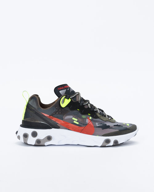 Nike Nike React Element 87 Medium olive/bright crimson-black-volt