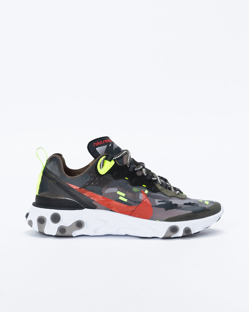Nike Nike React Element 87 Medium olive/bright crimson-black-volt
