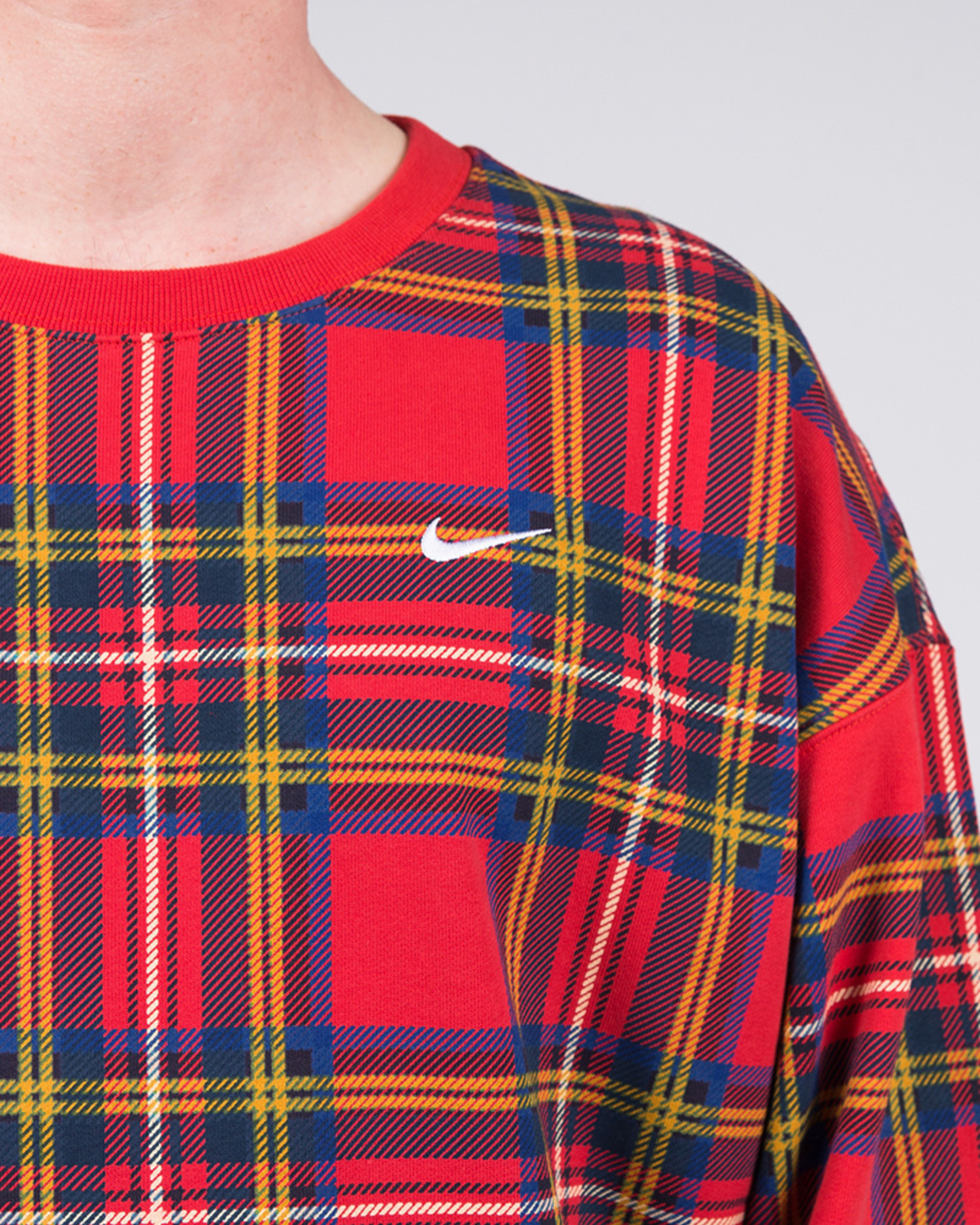 Nike Nrg Crew Plaid Swoosh Stripe