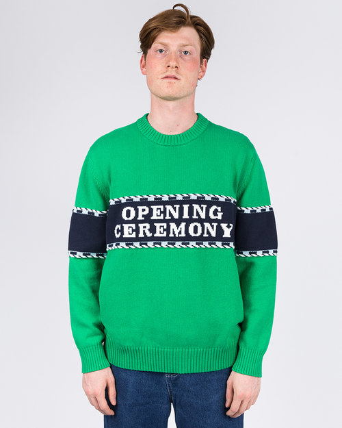 Opening Ceremony Opening Ceremony Logo Stripe Sweater Kelly Green