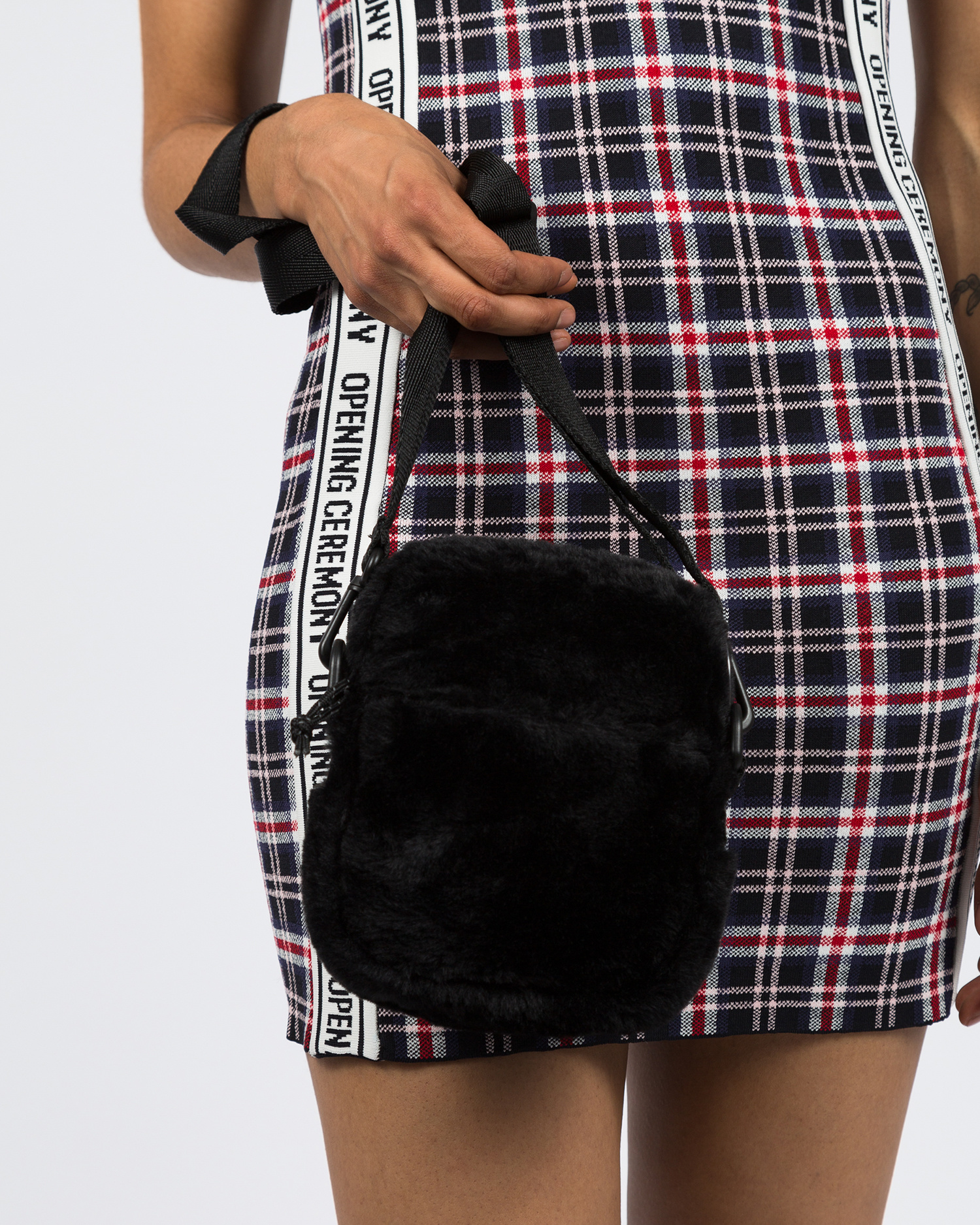 Opening Ceremony Faux Fur Mini Crossbody Bag Black
