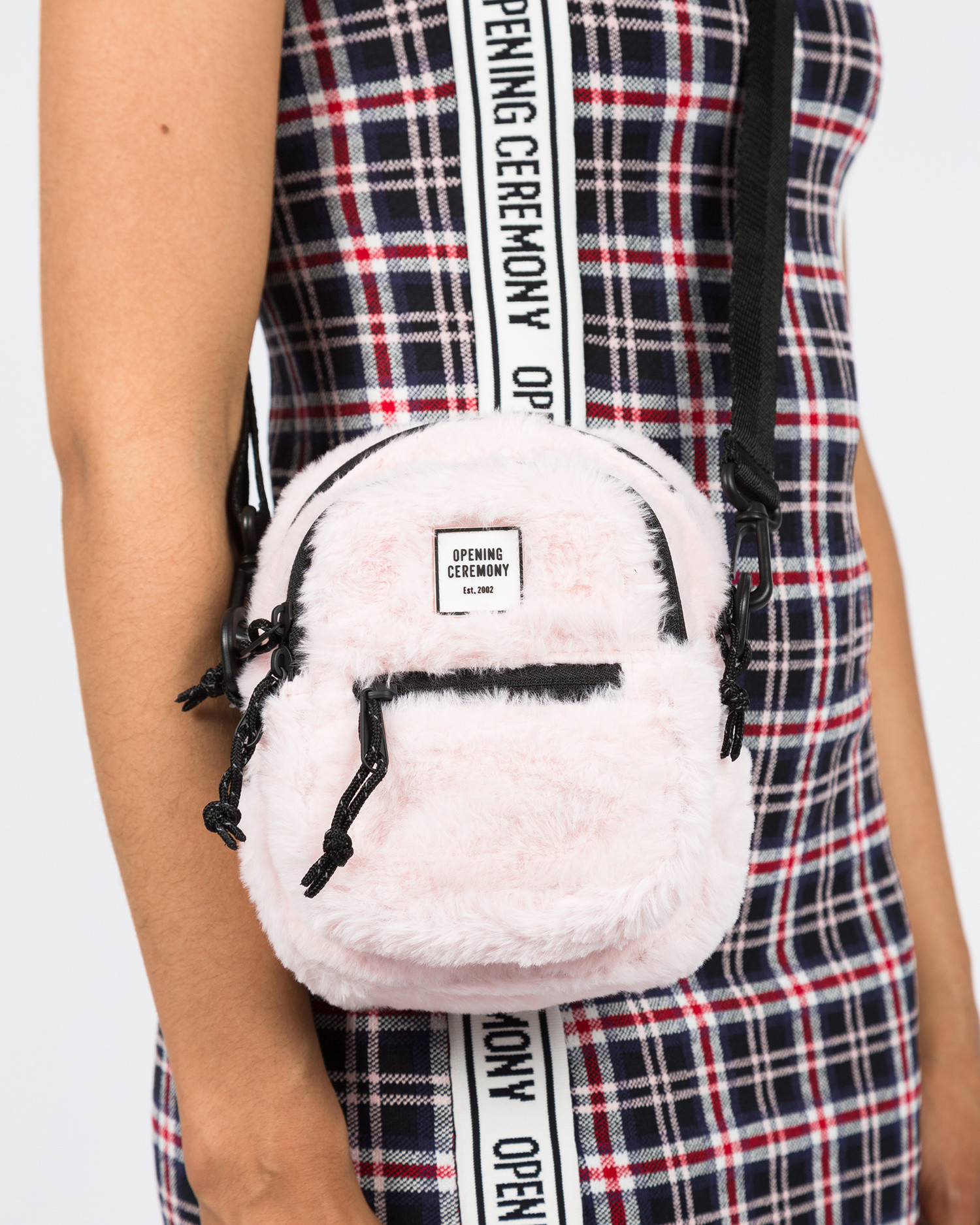 Opening Ceremony Faux Fur Mini Crossbody Bag Blush