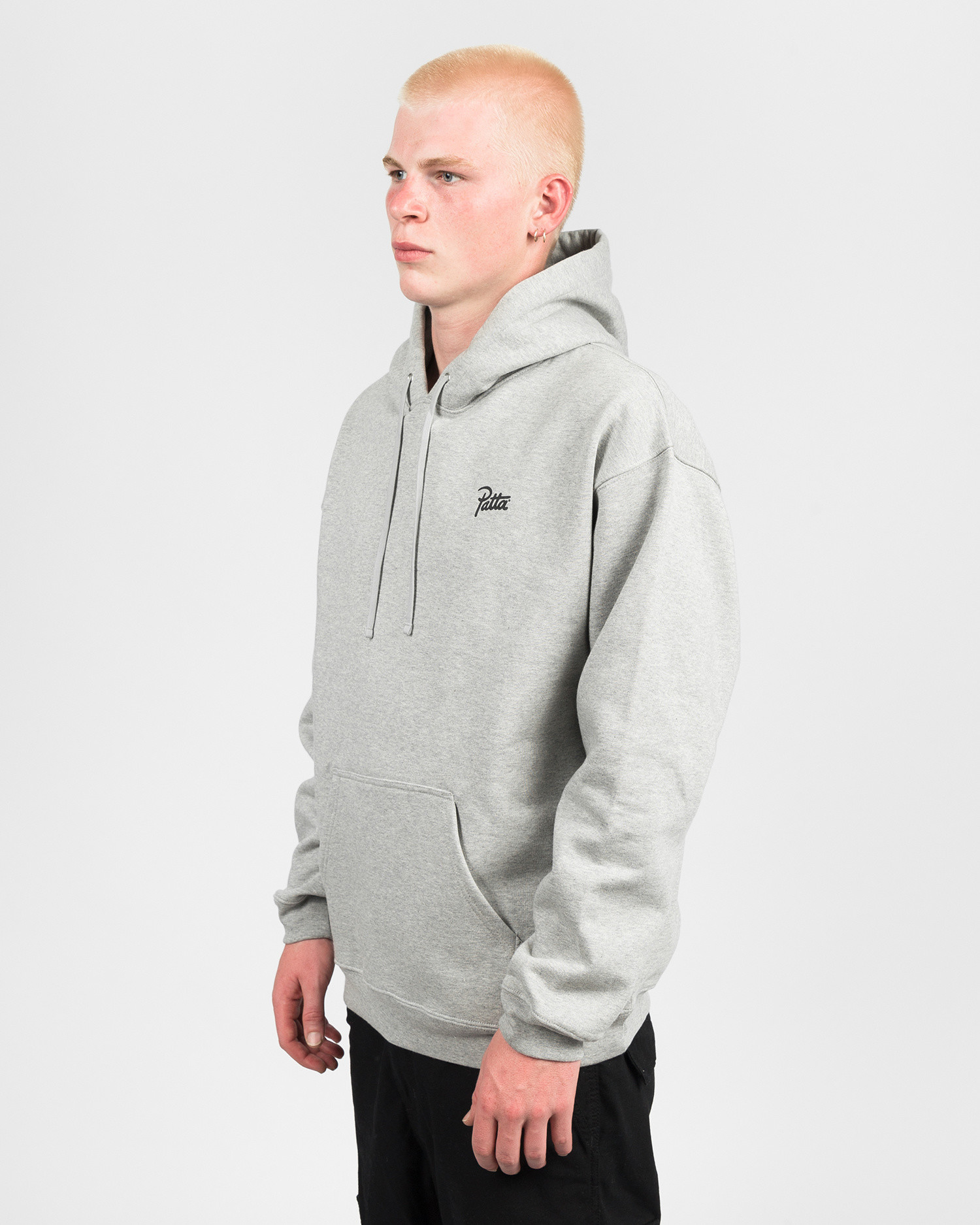 Patta Webbed Hooded Sweater Melange Grey