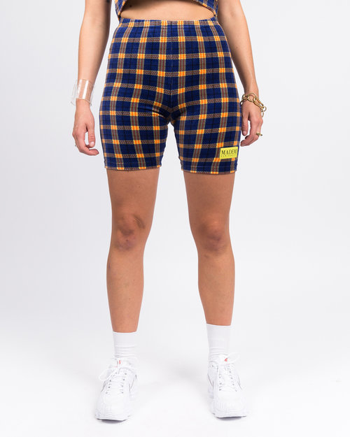 Made Me Made Me Velour Plaid Biker Shorts