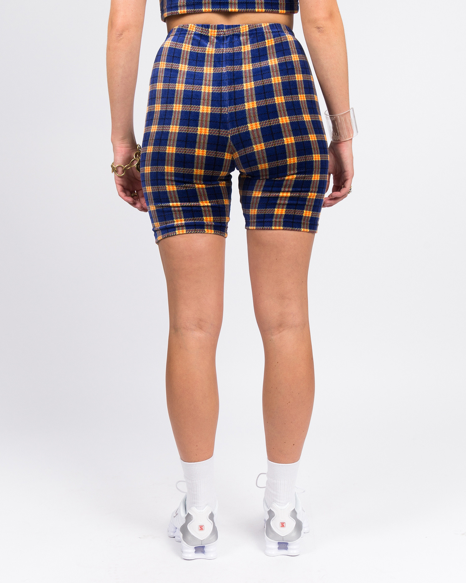 MadeMe Velour Plaid Biker Shorts